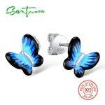 SANTUZZA <b>Silver</b> Butterfly <b>Earrings</b> For Women 925 Sterling <b>Silver</b> Stud <b>Earrings</b> <b>Silver</b> 925 Cubic Zirconia brincos Jewelry Enamel