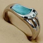 SHUNXUNZE Larimar natural stone rings <b>Jewelry</b> & <b>Accessories</b> for women Rhodium Plated R3510 size 6 7 8 9