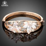 AZORA Luxurious <b>Jewelry</b> Rose Gold Color Clear Cubic Zirconia Two Flower Pave Bangle Bracelets Wedding Gift Wholesale TB0097