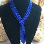 New charming 4mm blue lapis lazuli bead & White Pearl <b>Necklace</b> pendant 50″