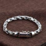 925 <b>Silver</b> Statement Bracelet Width 6mm Length 20cm Chain Vintage 100% Original S925 Thai <b>Silver</b> Big Bracelets for Men <b>Jewelry</b>
