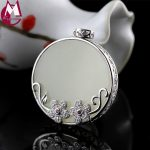 30mm Round Jade Trendy Gemstone Pendant Fine Crystal Flower 925 Sterling <b>Silver</b> <b>Necklace</b> Pendant For Women Hollow Coin SP59