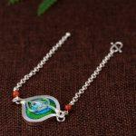FNJ 925 <b>Silver</b> <b>Bracelet</b> 17.5cm Chain Embroidery Geometric Charm Thai S925 <b>Silver</b> <b>Bracelets</b> for Women Jewelry