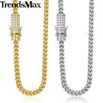 Trendsmax Miami Franco Mens <b>Necklace</b> Chain 316L Stainless Steel Iced Out Cubic Zirconia CZ Gold <b>Silver</b> Color 6mm 30inch KHNM20