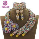 <b>Handmade</b> Chunky Crystal Exclusive Multicolor Necklace Bracelet Earrings Indian Wedding Floral <b>Jewelry</b> Free ShipABH144