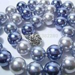 Discounts!12mm Multicolor glass pearl necklace 18 inch DIY handmade female <b>jewelry</b> <b>making</b>