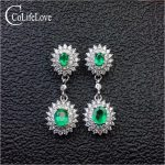 Dazzling emerald drop earrings for evening party 4 pcs real natural emerald earrings solid 925 <b>silver</b> emerald <b>jewelry</b> girl gift