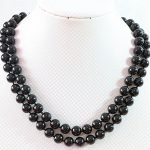 Hot sale black round charms baking paint glass 10mm round beads fashion strand necklace for women <b>jewelry</b> <b>making</b> 36 inch B668