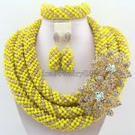 <b>Handmade</b> Statement Necklace Crystal Women Necklaces Costume <b>Jewelry</b> Nigerian Wedding African Beads <b>Jewelry</b> Set HD7210