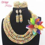 Nigerian Wedding beads bridal <b>jewelry</b> sets African Beads <b>Jewelry</b> Sets <b>Handmade</b> statement Necklace Sets Bracelet Earrings N0023