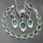 Wedding Jewelery Women <b>Silver</b> 925 Costume Jewelry Sets Green Zircon <b>Bracelets</b> Set of Earrings With Stones Necklace Ring Gift Box