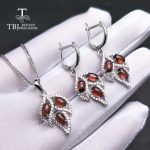 TBJ,Tree leaf jewelry set with garnet cab cut clasp <b>earring</b> and pendant in S925 <b>silver</b> elegant jewelry for women ladies as gift