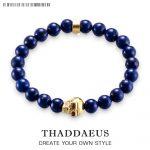 Fashion <b>Accessories</b> <b>Jewelry</b> Lapis Lazuli Bead Skull Skeleton 925 Silver Charm Stretch Ts Bracelet Gift For Men Women