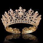 Gold Silver Full Round Crystal Queen Crown Rhinestone Bridal Tiara Pageant Prom Wedding Hair <b>Jewelry</b> Bride Big Crowns Headpieces