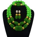2017 New Arrival Green Nigerian Plated Gold <b>Jewelry</b> Sets Crystal Beads <b>Necklace</b> Set Nigerian African Wedding Beads <b>Jewelry</b>