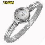 Elegant <b>Silver</b> Rhinestone Women Watch Brand YAQIN Slim <b>Bracelet</b> Ladies Casual Clock Fashion Wristwatch Summer Watches New 2016