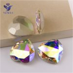 YANRUO #4827 28mm AB Heart Fancy Stones Setting Pointed Back Crystal Strass Glass Rhinestone For <b>Jewelry</b> <b>Making</b>