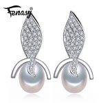 FENASY trendy plant Pearl <b>earrings</b>,Pearl beads with 925 Sterling <b>Silver</b> <b>earrings</b>,Women Accessories bohemian <b>earrings</b> for love