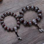 S990 Thai Heavy Natural Lobular Sandalwood Buddha Balls Beads Couple Lover Six Words of Mantra <b>Bracelet</b> CH058894+5