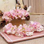 4pcs sets pink flower hairpins combs sets for bride Mori <b>handmade</b> pink flower hair decoration tiara wedding hair <b>jewelry</b>
