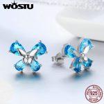 WOSTU <b>Jewelry</b> <b>Making</b> 925 Sterling Silver Elegant Butterfly Blue CZ Stud Earrings For Women Wedding <b>Jewelry</b> Fashion Gift FIE371