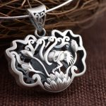 FNJ 925 Silver Lotus Pendant 100% Pure S925 Solid Thai Silver Red-crowned crane Bird Flower Pendants for Women <b>Jewelry</b> <b>Making</b>