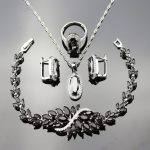 Black Crystal White Zircon 4pcs Jewelry Sets For Women 925 Logo <b>Silver</b> Color Necklace/Earrings/<b>Bracelet</b>/Ring/Pendant JS16-2BLK1