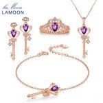 LAMOON 4PCS Jewelry Sets for Women S925 Sterling <b>Silver</b> Natural Amethyst Gems Keys Crown Fine Jewellery Wedding Gift Set V010-1
