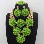 New <b>Handmade</b> Apple Green Nigerian Beaded Bib Necklace Set Chunky African Fashion <b>Jewelry</b> Set Bridal <b>Jewelry</b> Free ShipLK0033