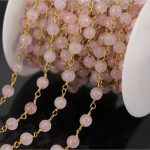 Wholesale 5Meter Rose Quartz Faceted Round Bead Chain,plated Gold Wire Wrapped Rosary Chain <b>Necklace</b> Fashion <b>Jewelry</b> Findings