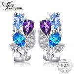 JewelryPalace Multicolor 2.5ct Genuine Amethyst Blue Topaz Clip On <b>Earrings</b> 925 Sterling <b>Silver</b> <b>Earrings</b> Nice Gift for Women