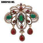 Wholesale Turkish Hollow Flower Vintage Brooch Pins <b>Antique</b> Gold Color Resin Arab Ethnic <b>Jewelry</b> Indian Bohemia WaterDrop Bijoux