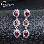 Classic ruby <b>silver</b> drop earrings for wedding six pieces natural ruby gemstone earrings solid 925 <b>silver</b> ruby <b>jewelry</b>