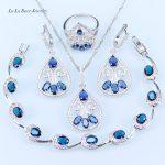 L&B American Simple Style Blue Crystal White Zircon Women 925 Logo <b>Silver</b> Color <b>Bracelet</b> Wedding Jewelry Sets