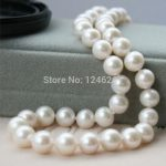 9-10mm White Akoya Cultured Pearl Shell Necklace Rope Chain Beads <b>Jewelry</b> <b>Making</b> Natural Stone 18inch(Minimum Order1)