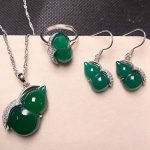 Yu Xin Yuan 925 <b>Silver</b> Green Chalcedony Jewelry Gourd Shape Ring Pendant Stud <b>Earrings</b> A Three-piece