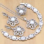 Flower Shaped <b>Silver</b> 925 Jewelry Sets White Pearl With CZ Stones Decoration For Women Earrings/Pendant/Ring/<b>Bracelet</b>/Necklace