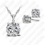 Wholesale <b>Fashion</b> Austria Crystal Earrings Necklace <b>Jewelry</b> Sets Wedding Dress 925 Sterling Silver Stud Earring Pendant Necklace