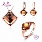 Sterling <b>Silver</b> 925 Jewelry Sets For Women Fine Jewelry Gold Zircon For Girls Wedding Engagement Party Valentines Day Gift