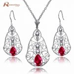 Red Rhinestone Crystal Jewelry Sets 925 Sterling <b>Silver</b> Long Drop <b>Earrings</b>/Pendant For Women Handmade Vintage Free Jewelry Box