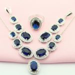 WPAITKYS Classic Navy Blue Oval Stone Silver Color Maxi <b>Jewelry</b> Sets For Women Anniversary <b>Necklace</b> Earrings Ring Free Gift Box