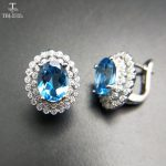 TBJ,2017 Clasp <b>earring</b> with natural swiss blue topaz in 925 sterling <b>silver</b> jewelry,natural gemstone <b>earring</b>,classic design
