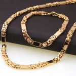 New Arrive Mens Gold Color Stainless Steel <b>Handmade</b> Flat Byzantine Necklace Bracelet Set 6mm 8.66″+21.6″