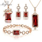 Mytys Rose Gold Red Crystal <b>Jewelry</b> Sets For Women High Quality <b>Jewelry</b> Gift for Wife N397