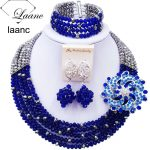 Beautiful Royal Blue <b>Silver</b> Crystal Beaded Necklaces Costume Nigerian Wedding African Beads Jewelry Set for Women 5SZK002