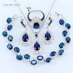 L&B Oustanding Women Jewelry Sets <b>silver</b> color Blue crystal White zircon 925 logo Earrings/Pendant/Necklace Chain/Ring