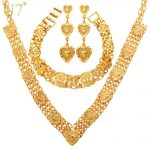 U7 Heart <b>Necklace</b> Drop Earrings & Bracelet Set For Women Gift Sale Yellow Gold Color Bridal Wedding <b>Jewelry</b> Sets Vintage S457