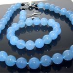 Prett Lovely Women's Wedding shipping> One Set 18″ Necklace Bracelet Earring Blue gem 10mm Knotted Each Beads silver-<b>jewelry</b>