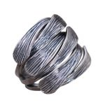 Genuine Solid 925 Sterling Silver Wide Rings Woven Braided Thai Silver Mens Ring Opening Size Fine <b>Jewelry</b>