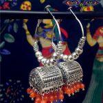 Original India BOHO <b>Handmade</b> Ancient Silver Birdcage Big Earrings Mumbai Vintage Color Bead Earrings. India Women <b>Jewelry</b>
